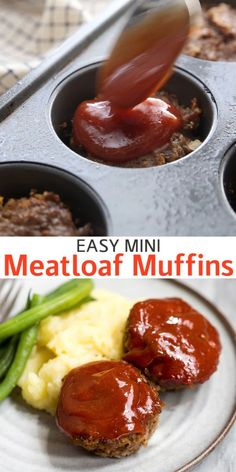 Easy Mini Meatloaf muffins are made with ground beef or ground turkey and topped with a delicious meatloaf sauce. They are easier and healthier than traditional meatloaf. dinner recipes with ground beef Mini Meatloaf Ground Beef Recipes For Dinner, Easy Dinner Recipes, Yummy Easy Dinners, Recipes With Ground Beef Videos, Meals To Make With Ground Beef, Casseroles With Ground Beef, Ground Beef Meals, Easy Recipes For Two, Healthy Supper Ideas