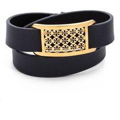 Tory Burch Kinsley Double Wrap Bracelet - Tory Navy/Shiny Brass found on Polyvore