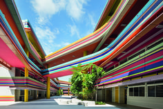 Australian Architectural firm Studio 505 offer up an award winning design for the Nanyang Primary school in Singapore, that features a very colourful facade