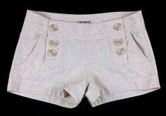 EXPRESS Beige Sailor Style Linen/Cotton Double Button Front Mini Shorts sz 00 #Express #MiniShortShorts