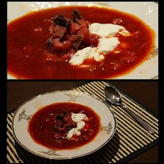Picture of Recept - Boršč Thai Red Curry, Chili, Recipies, Cooking Recipes, Beef, Ethnic Recipes, Soups, Recipes, Chile