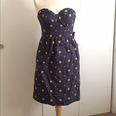 Anthropologie strapless blue dress Strapless dress with gold embroidered dots and side pockets, size 8. BNWT. Anthropologie Dresses Strapless
