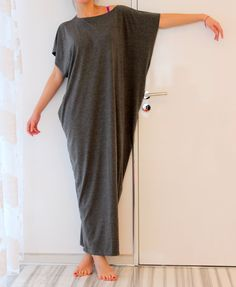 Dark Grey Spring Summer Maxi oversized plus by cherryblossomsdress, $79.00 Looks so very comfortable.