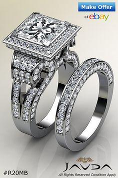 Princess Diamond Engagement GIA G VS2 Bridal Set Pave Ring 14k White Gold 4.4 ct