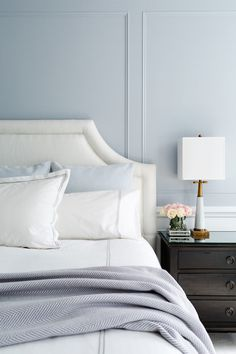 Looking for Transitional Bedroom and Master Bedroom ideas? Browse Transitional Bedroom and Master Bedroom images for decor, layout, furniture, and storage inspiration from HGTV. Grey Bedroom Design, Blue Master Bedroom, Modern Bedroom, Bedroom Decor, Bedroom Night, Blue Bedrooms, Pastel Bedroom, Bedroom Colors, Bedroom Furniture