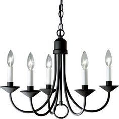 White candlesticks on this one $107 at Lowes.   Progress Lighting 5-Light Textured Black Chandelier