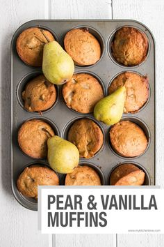 Pear and Vanilla Muffins. Perfect for Fall snacks and breakfast on the go, these muffins are sweetened with mostly fruit puree.Pear and Vanilla Muffins. Perfect for Fall snacks and breakfast on the go, these muffins are sweetened with mostly fruit puree. Pear Recipes, Muffin Recipes, Brunch Recipes, Breakfast Recipes, Recipes With Pears, Pear Dessert Recipes, Jelly Recipes, Healthy Breakfast Muffins, Breakfast On The Go