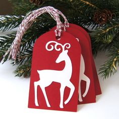 Reindeer Christmas Tags or Package Labels by Scrap Bits on Etsy