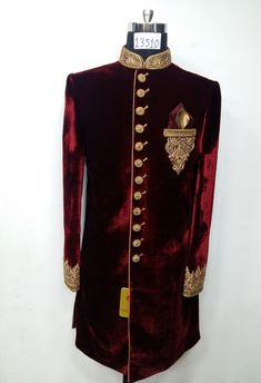 Royal red velvet sheewani with Zardosi work. Get the outfit for Manufacturer rate call or WhatsApp at Sherwani For Men Wedding, Sherwani Groom, Mens Sherwani, Wedding Suits, Indian Groom Dress, Kurta Pajama Men, Indian Men Fashion, African Fashion, Eastern Dresses