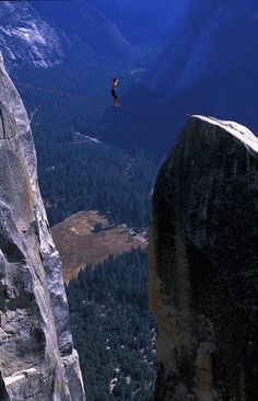 Walking the Lost Arrow Spire Highline in Yosemite Valley, California