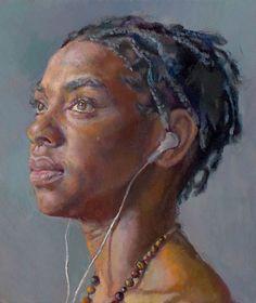 """Listening"" - Robin Frey, oil on canvas, 2008 {figurative art female earphones african-american black woman face portrait painting braids #loveart} robinfrey.com"