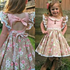 Best 12 New! Clementine Vintage Style Dress with Extended Flutter Sleeves PDF Sewing Pattern – SkillOfKing. Vintage Girls Dresses, Toddler Girl Outfits, Little Girl Dresses, Kids Outfits, Flower Girl Dresses, Frocks For Girls, Kids Frocks, Little Girl Fashion, Kids Fashion