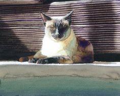 Siamese Cat watercolor painting.
