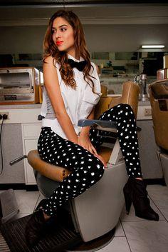 Black & White Leggings - Tea Print Leggings S/M. $70., via Etsy.