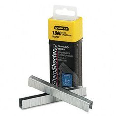 "Heavy-duty staples are ideal for jobs such as insulation, carpet underlaying and roofing felt. Staple Type: Staple Gun; For Use With: Stanley Bostitch SharpShooter Tacker (TR150); Leg Length: 1/2""."
