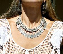 1pc nuevo ladies european gitana bohemia vintage moneda de plata ronda babero collar gargantilla declaración turca mujeres collar regalo del partido(China (Mainland))