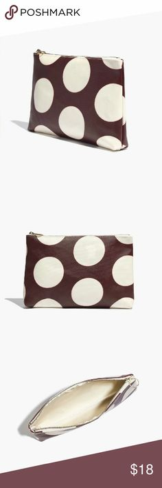 "[Madewell] Small Zip Pouch NEW with tag  Hold the essentials in this canvas zipper pouch or throw it into a tote?it suits both uses perfectly (and fits your lip balm, keys, tablet and phone).  Cotton.  Coated exterior to shield from moisture.  5 15/16""H x 8 11/16""W x 1 3/8""D.  Zip closure.  Brown with cream polka dots. Madewell Bags Clutches & Wristlets"