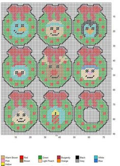 wreath faces ornaments or magnets plus wreath frame plastic canvas crafts plastic canvas ornaments - Plastic Canvas Christmas Ornaments
