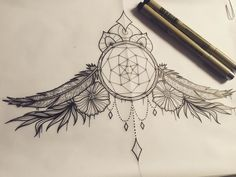 Dream catcher sternum design #tattoo #tattooflash #tattoodesign ...