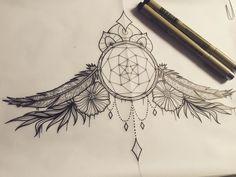 Dream catcher sternum design #tattoo #tattooflash #tattoodesign ...