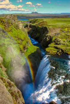 The beutiful waterfall above Hólaskjól in Iceland (sometimes called Silfurfoss (silverfall) or little Gullfoss, photo by Ragnar Thorarensen on 500px)