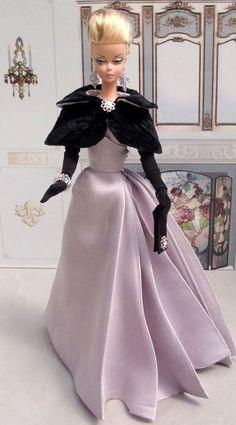 BArbie Silkstone Doll in purple dress Barbie Gowns, Barbie Dress, Barbie Clothes, Dress Up, Fashion Royalty Dolls, Fashion Dolls, Poupées Barbie Collector, Vintage Barbie Dolls, Barbie Collection