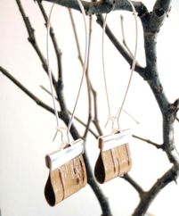 Earrings made from birch bark - Revolved Design Birch Bark jewelry collection, available at Boutique Joliette.