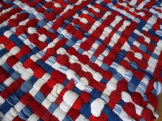 Hand Woven Handmade Rag Rug/Floor Mat Thick~ Red White Blue~Handmade USA…