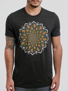 Bloom - Multicolor on Heather Black Triblend Mens T Shirt - Curbside Clothing