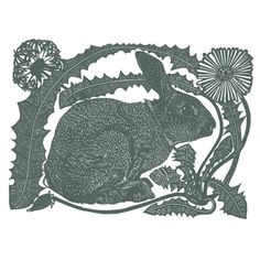 a rabbit with a dandelion - linocut print - Babs Pease, U.K.