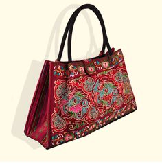 6cad9cc78ecc Bohemian Woman s Bag National Style Embroidery Single-shoulder Bag  Embroidery Handbag Big Bag Factory(Big Szie) black base cloud and flower