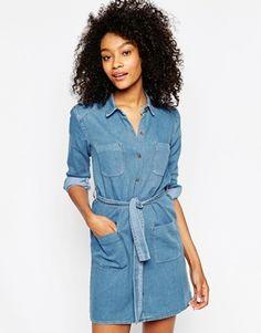 ASOS – Jeans-Hemdkleid mit Gürtel