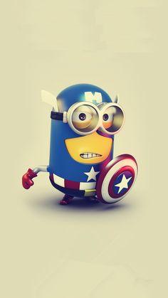 2014 cute Halloween American captain minion iphone 6 wallpaper Despicable Me