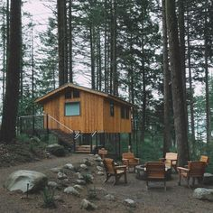 The treehouses at Skamania Lodge in Stevenson. Industrial Stool, Rustic Industrial, Stay In A Treehouse, Indoor Outdoor Fireplaces, Lopez Island, Modern Lodge, White Dining Room Chairs, Chair Leg Floor Protectors, Comfortable Accent Chairs