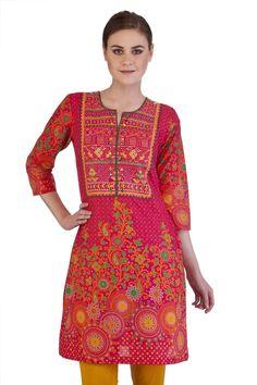 ahhh :) Meena Bindra Women's Indian Kurta Tunic with Whimsical Yolk Print: In-Sattva Pantaloons