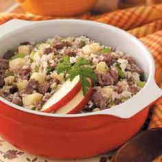 Odds and Ends - Easy Casseroles for dinner - Sausage Apples and Rice Casserole