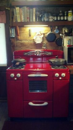 My husband painted our white stove red. A 1950's Tappan. Happy Birthday to me!