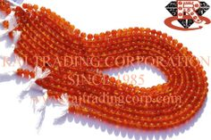 Carnelian Smooth Round (Quality AA) Shape: Round Smooth Length: 36 cm Weight Approx: 17 to 19 Grms. Size Approx: 5.5 to 6.5 mm Price $7.50 Each Strand