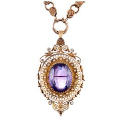 Victorian Amethyst, Pearl And Gold Pendant/Necklace