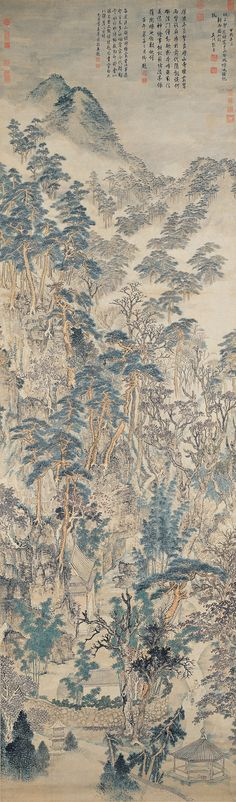 Mt. Qixia Zhang Hong (1577-ca. 1652), Ming dynasty  Hanging scroll, ink and colors on paper, 341.9 x 101.8 cm