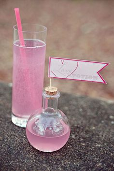 "love potion drinks...cute idea for shower or bachelorette.  Maybe everyone has a shot of ""love potion"" ?"