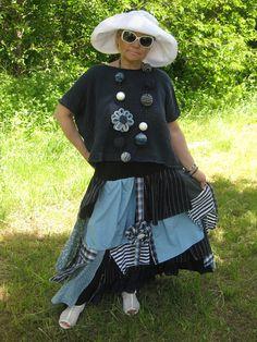 Upcycled Bohemian Lagenlook long skirt