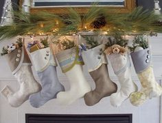 Coastal Christmas Stockings in Sky Blue, Sand and Driftwood Colors with Button Cuffs on Etsy, $31.00