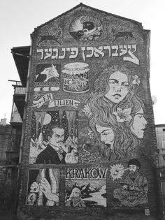 Graffitti on the buiding in Kazimierz, the old Jewish district, Krakow, Poland.