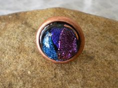 Splashes of Dichroic Color on Copper Cocktail Ring by uniquenique, $18.00 #onfireteam #lacwe #teamfest