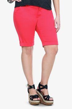 Torrid Denim - Poppy Red Notched Back Plus Size Bermuda Shorts Plus Size Skirts, Plus Size Jeans, Fat Girl Fashion, Modest Shorts, Trendy Plus Size Fashion, Poppy Red, Skirt Pants, Red Poppies, New Wardrobe