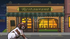 A Cute German Shorthaired Pointer Pet Dog With Outside A Fancy Restaurant Background:  A dog with white and spotted brown fur droopy ears and brown nose sitting on the floor front right paw placed forward as it shifts its head to look ahead and Outside a restaurant during a starry night sky with pale orange walls beige bricks moss green awning and classic windows and doors silhouettes of people eating inside the restaurant are projected via the classy lighted window  #animal #cartoon…