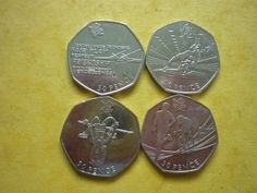 4 x 2011 london olympic #games 50 pence #coins - #rowing, triathlon etc freepost…