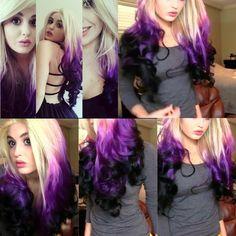 New hair color purple roots dip dye Ideas Blonde Dip Dye, Dip Dye Hair, Dyed Hair, Dip Dyed, Pretty Hair Color, Hair Color Purple, Hair Dye Colors, Purple Ombre, Black Ombre