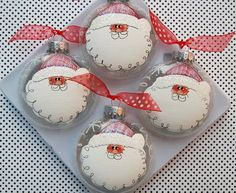 set of 4 Hand Painted Santa Ornament by glassygirl21 on Etsy